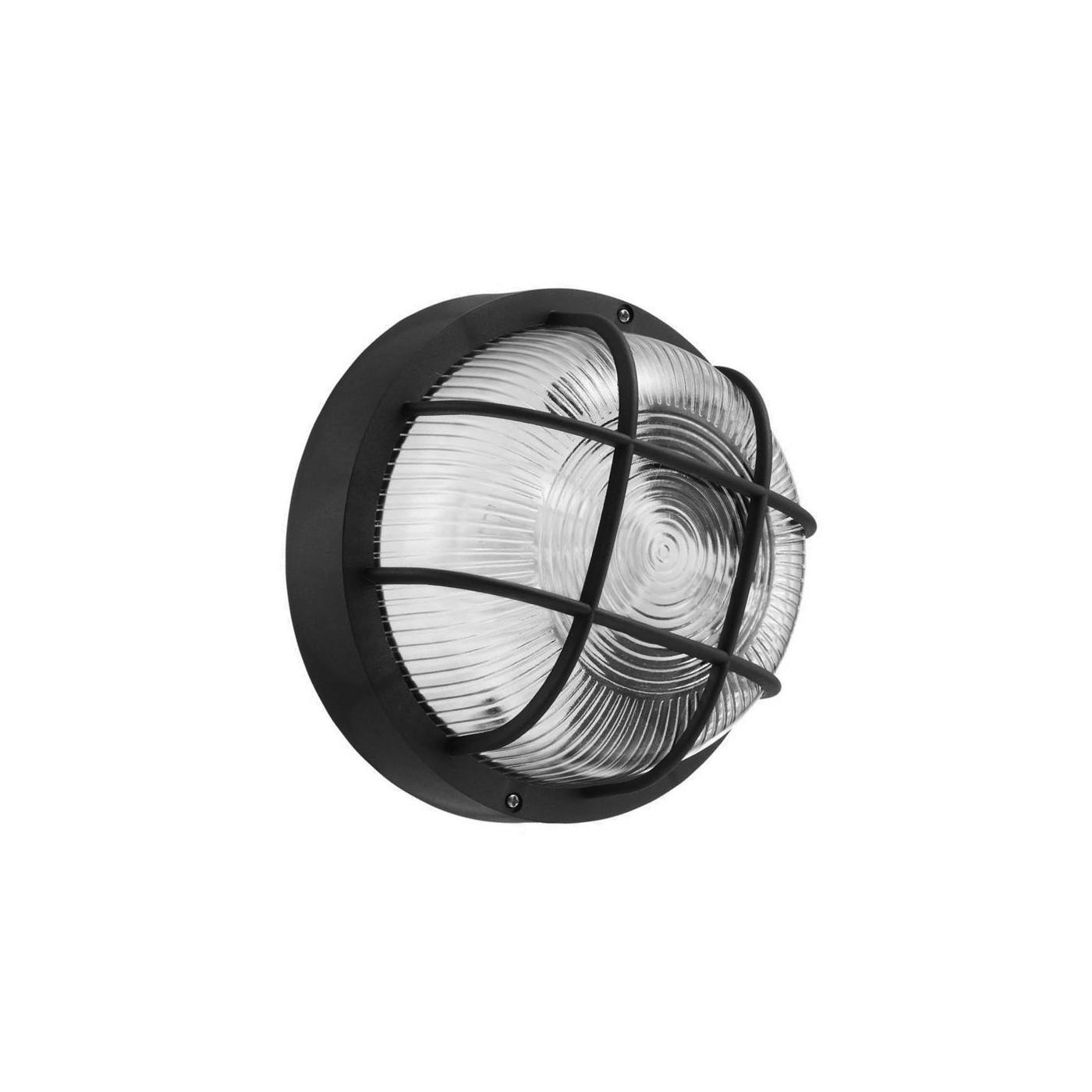Lámpara de exterior redonda de diana (bulleye), negra E27  - 1
