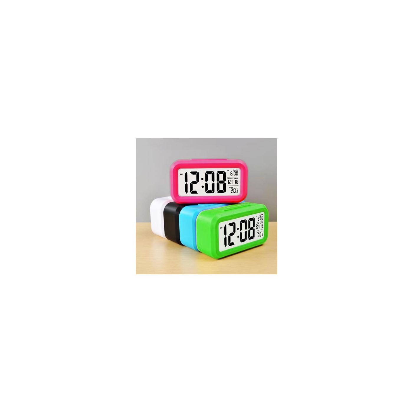Horloge avec réveil de couleur joyeuse: blanc