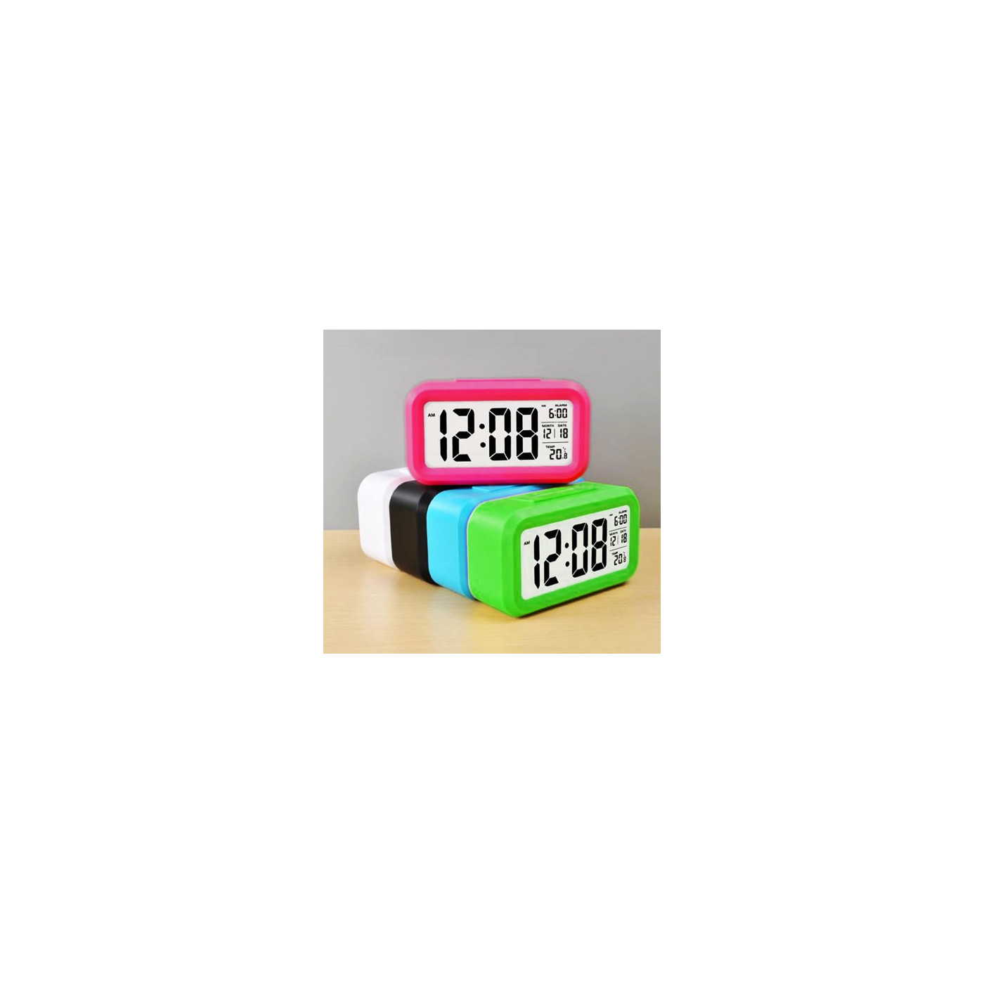Clock with alarm in cheerful color: green