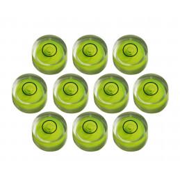 Ensemble de 10 petits niveaux à bulle ronds taille 1 (8x5,5 mm)