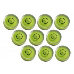 Set di 10 piccoli livelli di bolle rotonde misura 9 (25x10 mm)