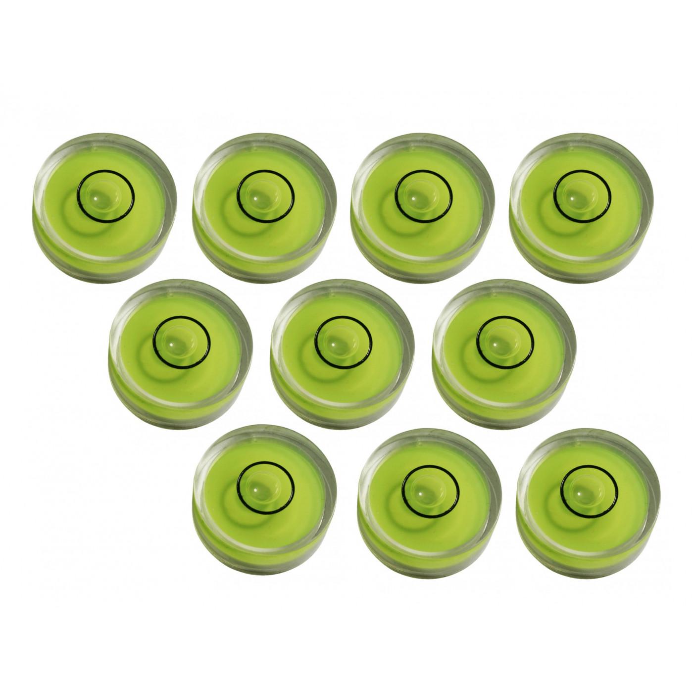 Ensemble de 10 petits niveaux à bulle ronds taille 9 (25x10 mm)
