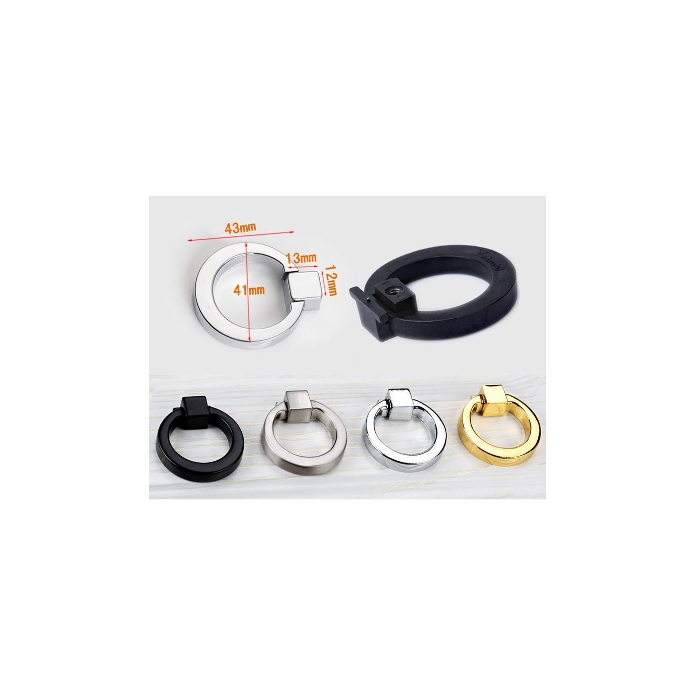 Zestaw 5 metalowych uchwytów z pierścieniem (chrom)