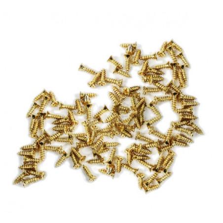 Set van 300 mini schroefjes (2.5x8 mm, verzonken, goudkleur)