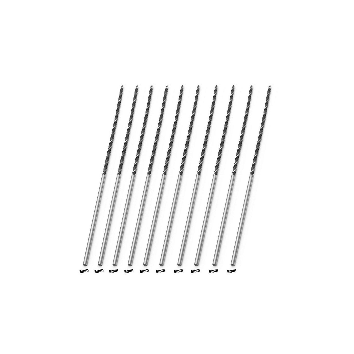 Set of 10 extra long wood drill bits (5x300 mm)