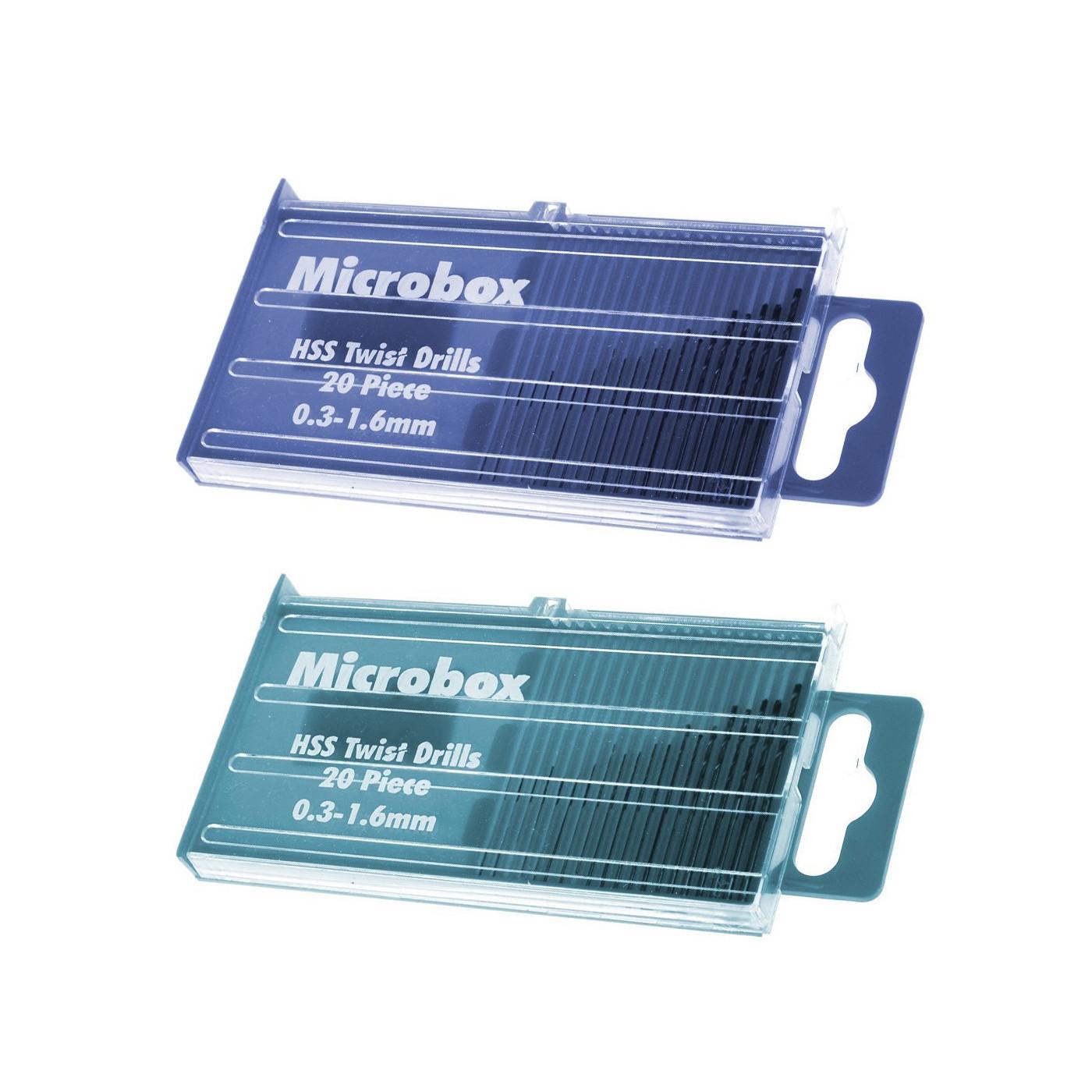 Set van 40 micro hss boortjes 0.3 - 1.6 mm in doosjes  - 1