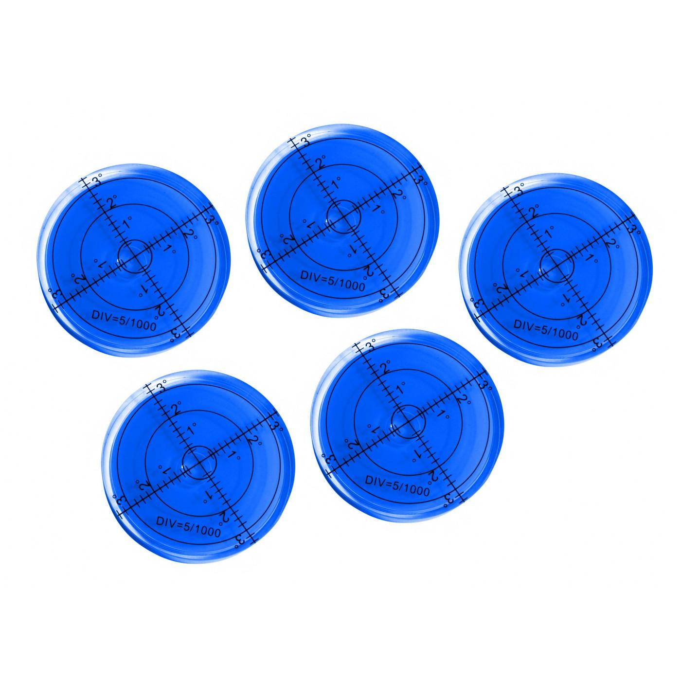 Set van 5 ronde waterpassen (66x11 mm, blauw)