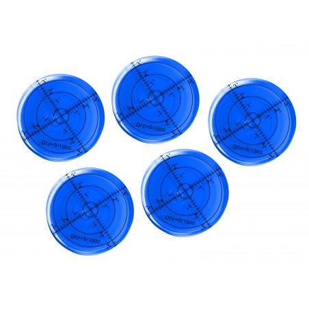 Set of 5 round bubble levels (66x11 mm, blue)