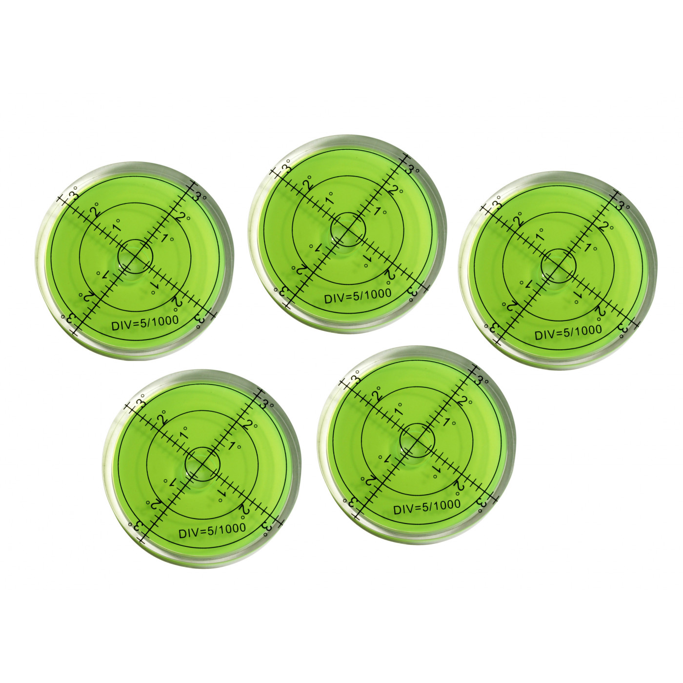 Set of 5 round bubble levels (66x11 mm, green)