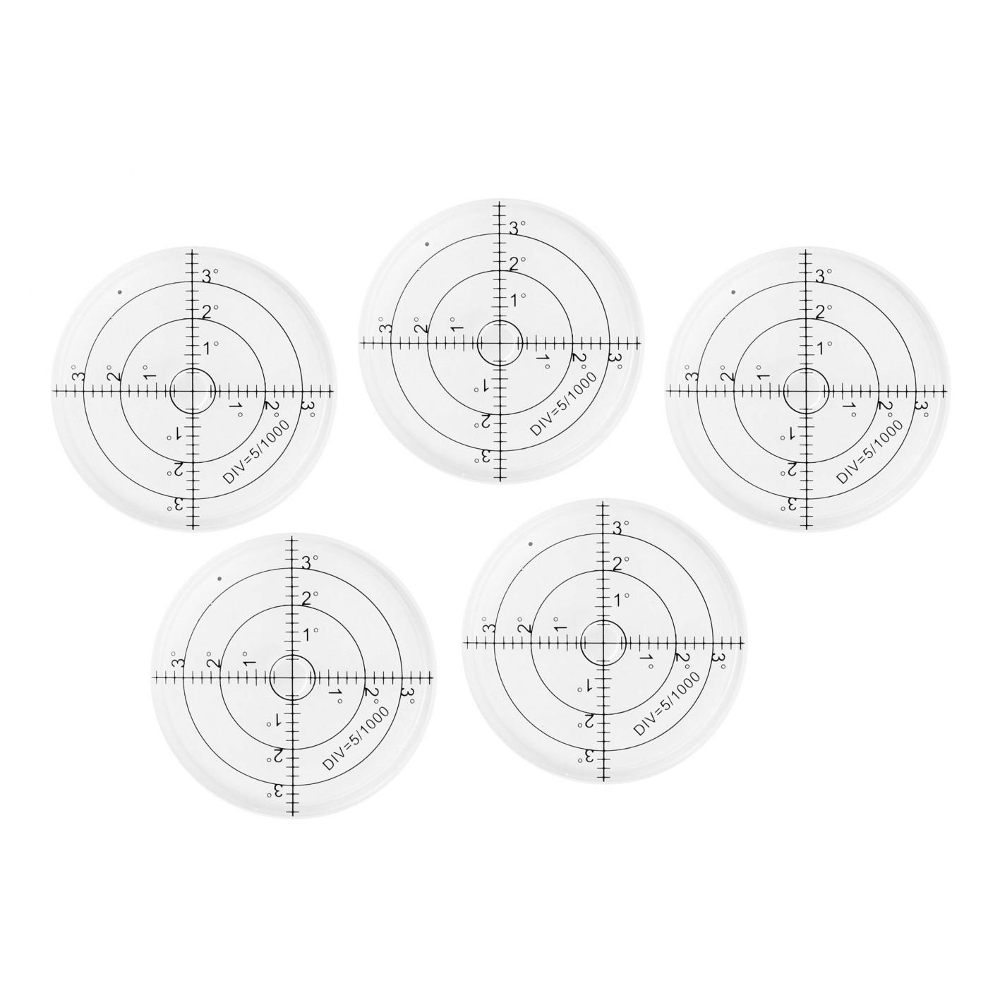 Set von 5 runde Wasserwaagen (66x11 mm, weiss)