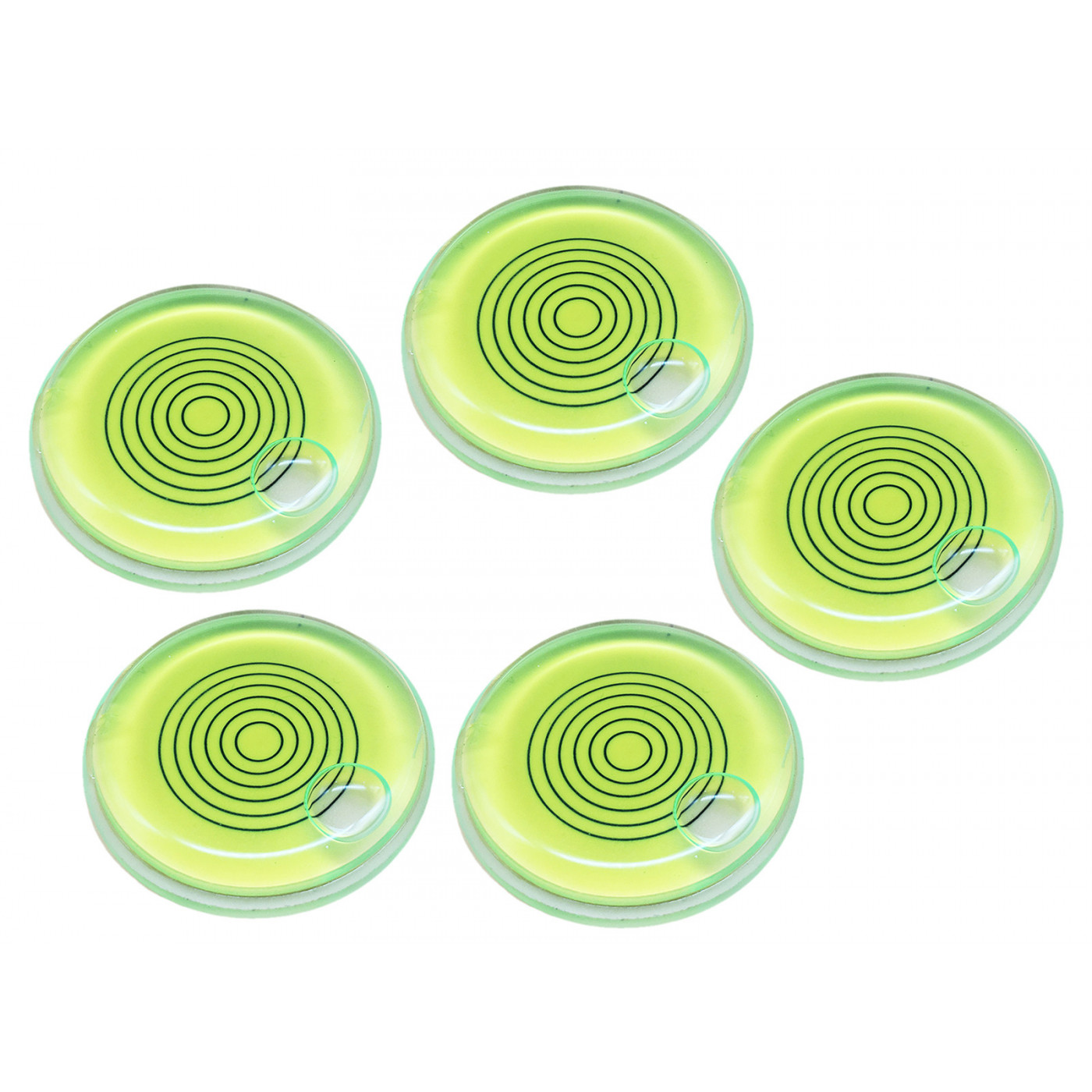 Set of 5 bubble levels with lines, green (66x11 mm)