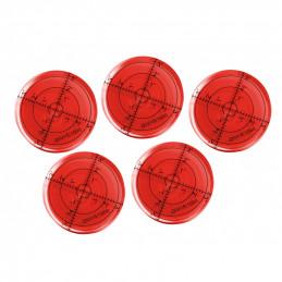 Ensemble de 5 niveaux à bulle ronds (66x11 mm, rouge)  - 1