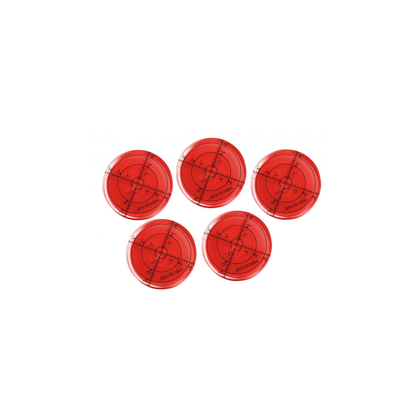 Conjunto de 5 níveis de bolha redondos (66x11 mm, vermelho)  - 1