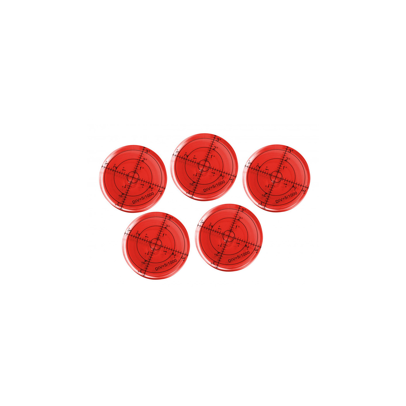 Set of 5 round bubble levels (66x11 mm, red)