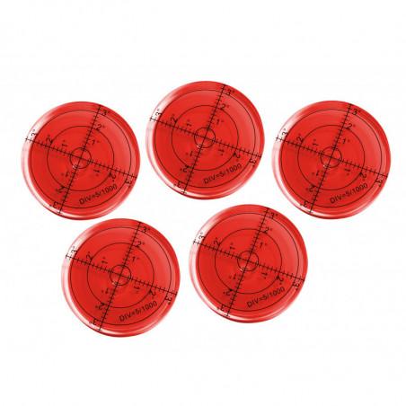 Ensemble de 5 niveaux à bulle ronds (66x11 mm, rouge)