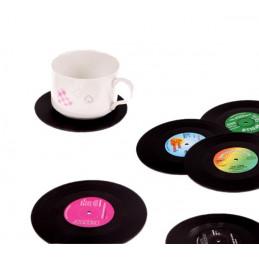 Ensemble de 18 dessous de verre rétro (disques musicaux)