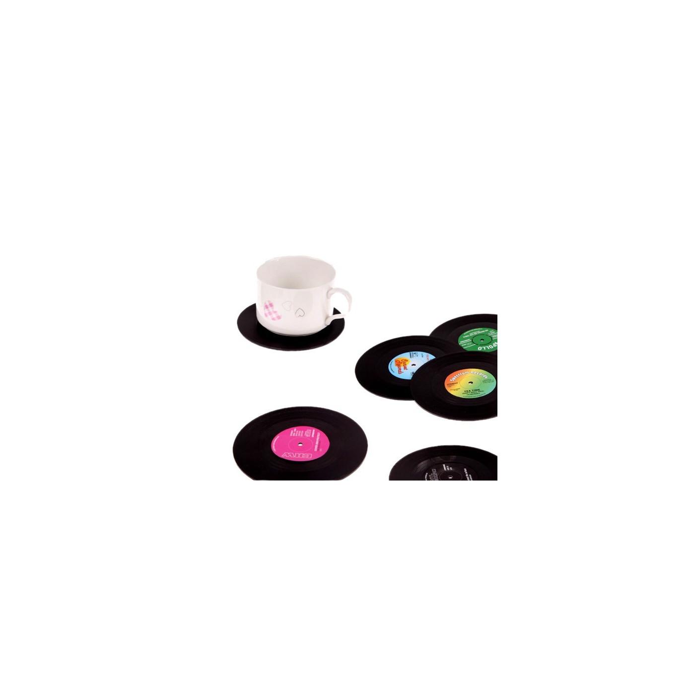 Set van 18 retro vinyl elpee onderzetters