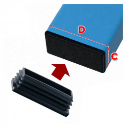 Set of 48 chair leg caps (A:25, D:26, black)