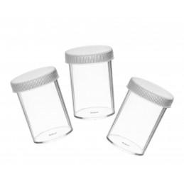 Juego de 30 recipientes para muestras de 20 ml con tapón de rosca  - 1