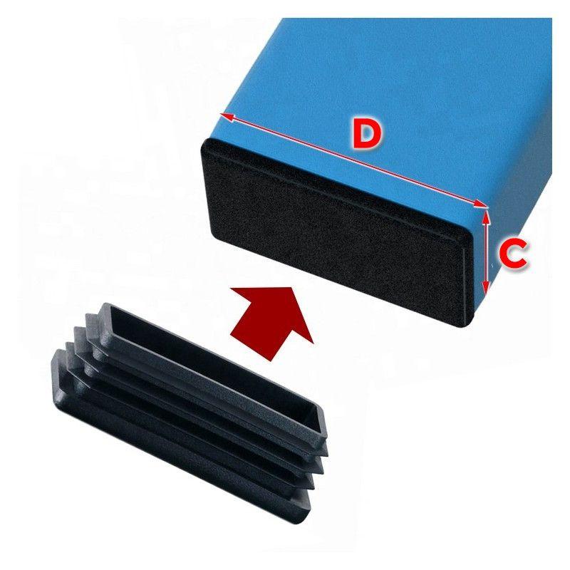 Set van 48 stoelpootdoppen (20x60 mm, zwart, inslag)  - 1