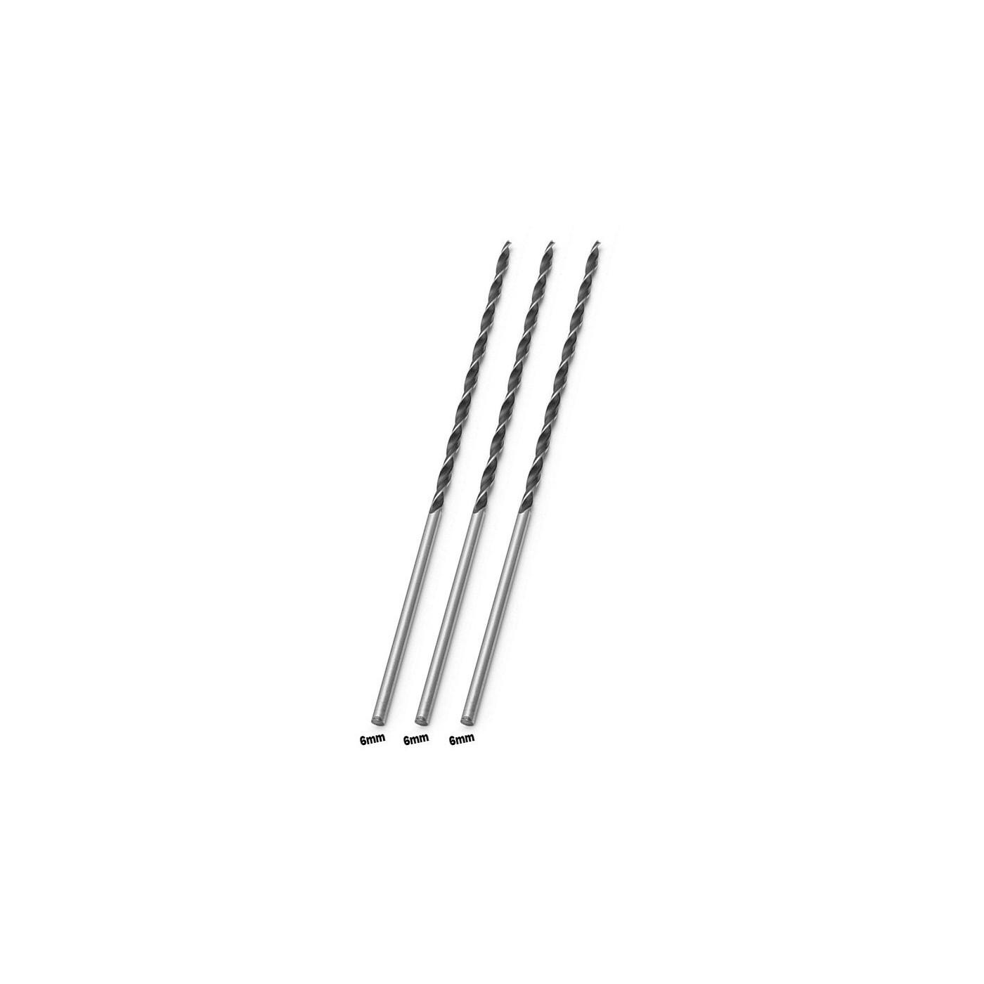 Conjunto de 3 brocas para madeira extra longas (6x300 mm)  - 1