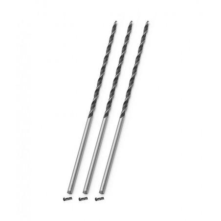 Set of 3 extra long wood drill bits (6x300 mm)