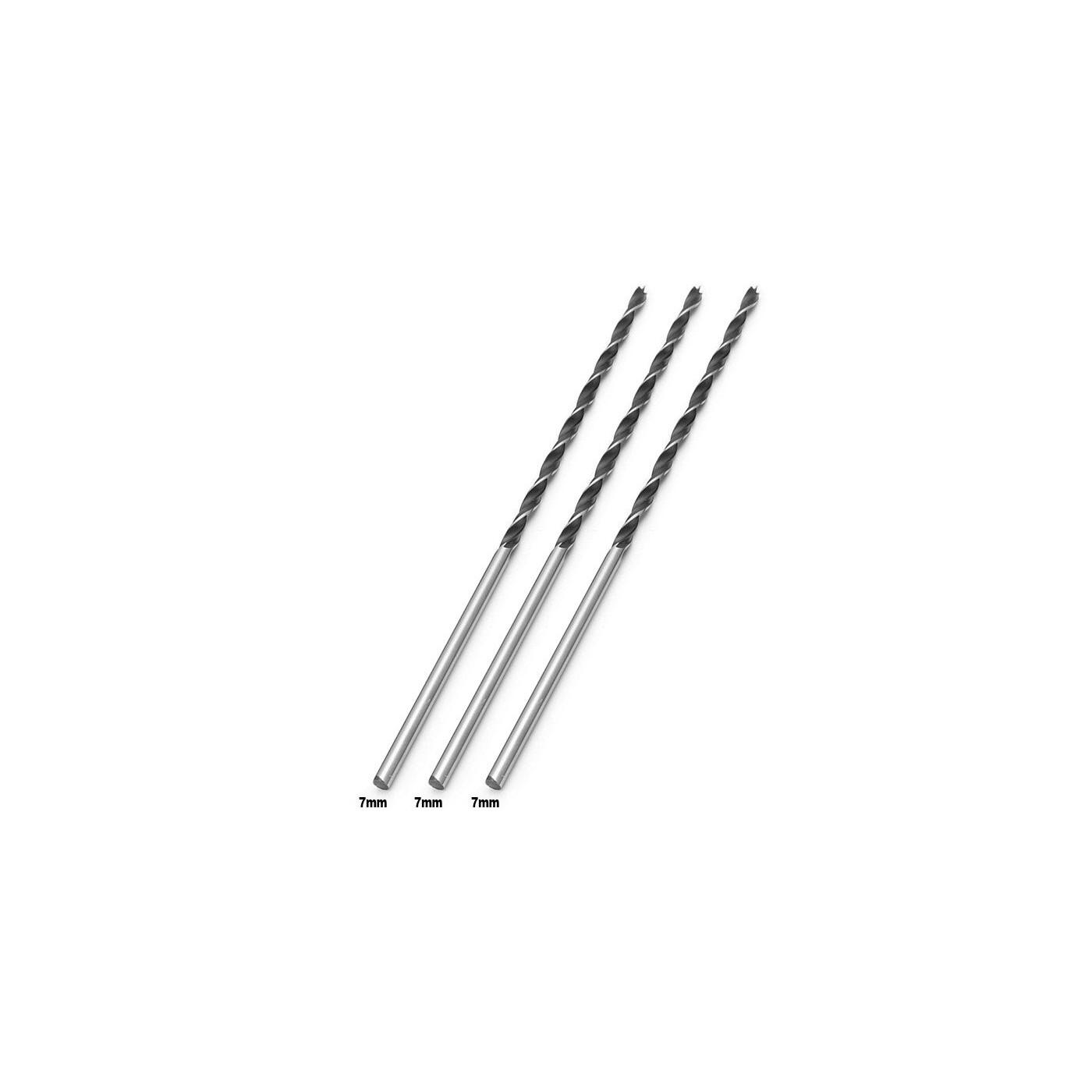 Set of 3 extra long wood drill bits (7x300 mm)  - 1