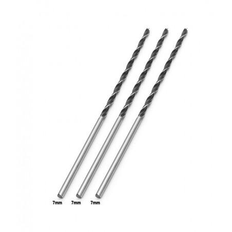Set of 3 extra long wood drill bits (7x300 mm)