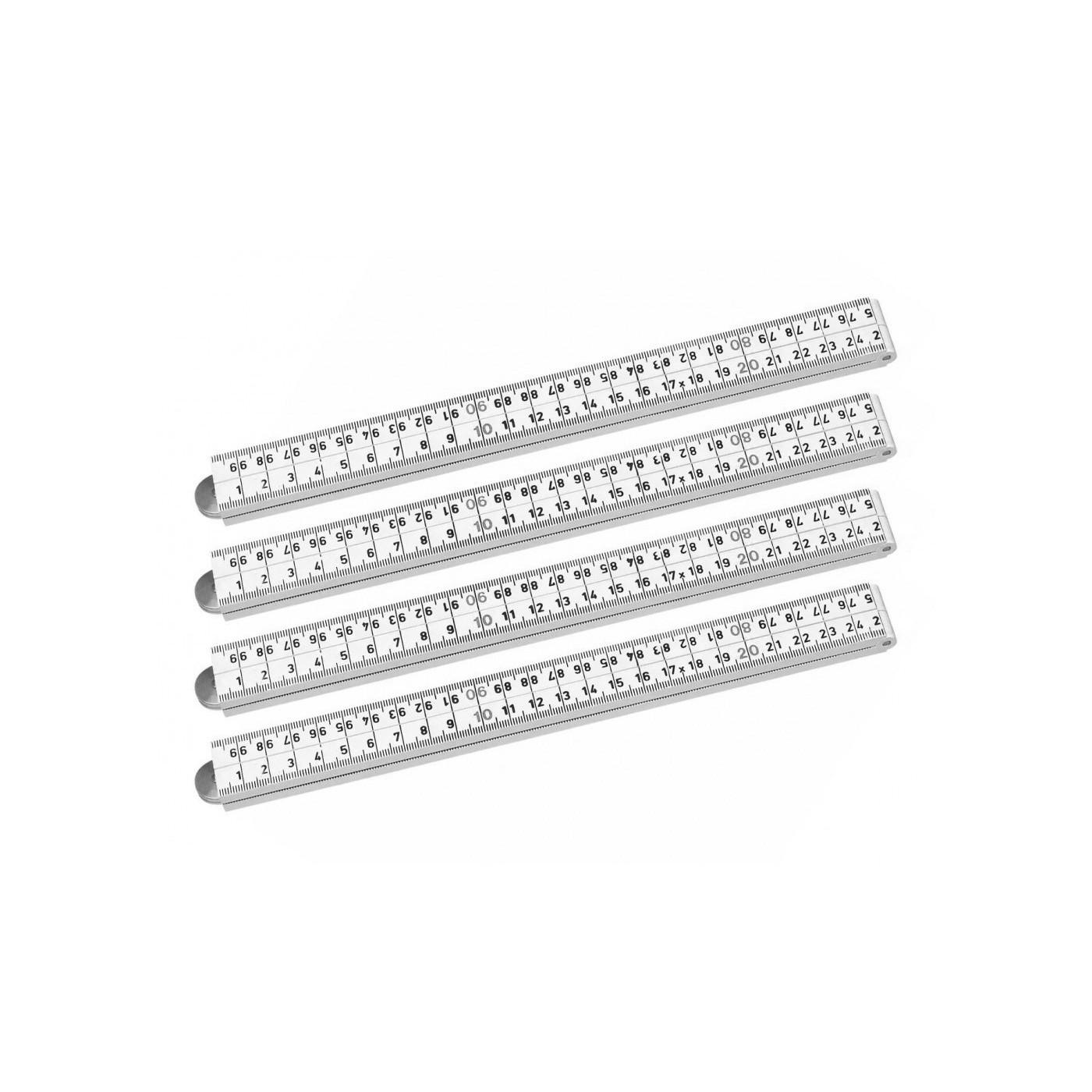 Set van 4 opvouwbare duimstokken (fiber, 1 meter, wit)