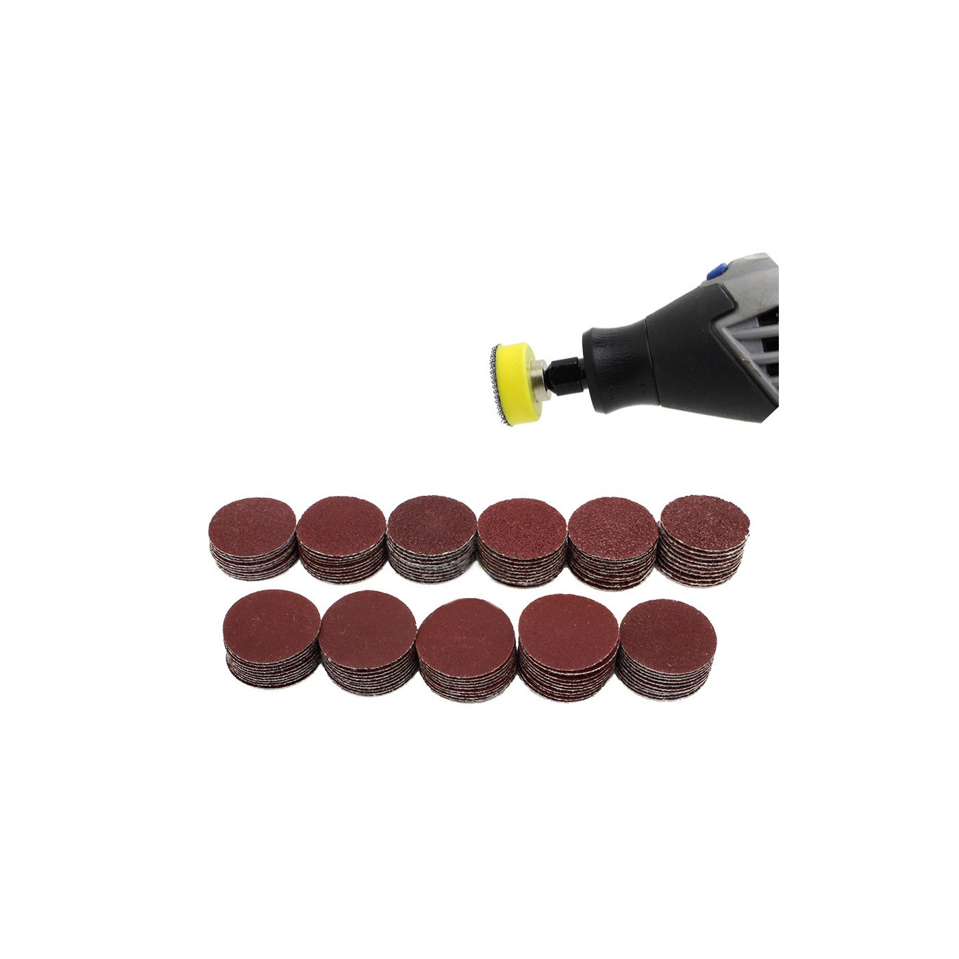 Set von 25 mm Schleifscheibenhalter, 99 scheiben und 2 Adaptern  - 1
