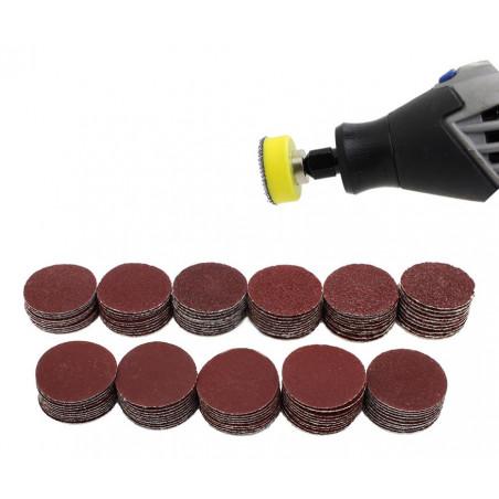 Set van 25 mm houder, 99 schuurschijfjes (K40-7000, 2 adapters)