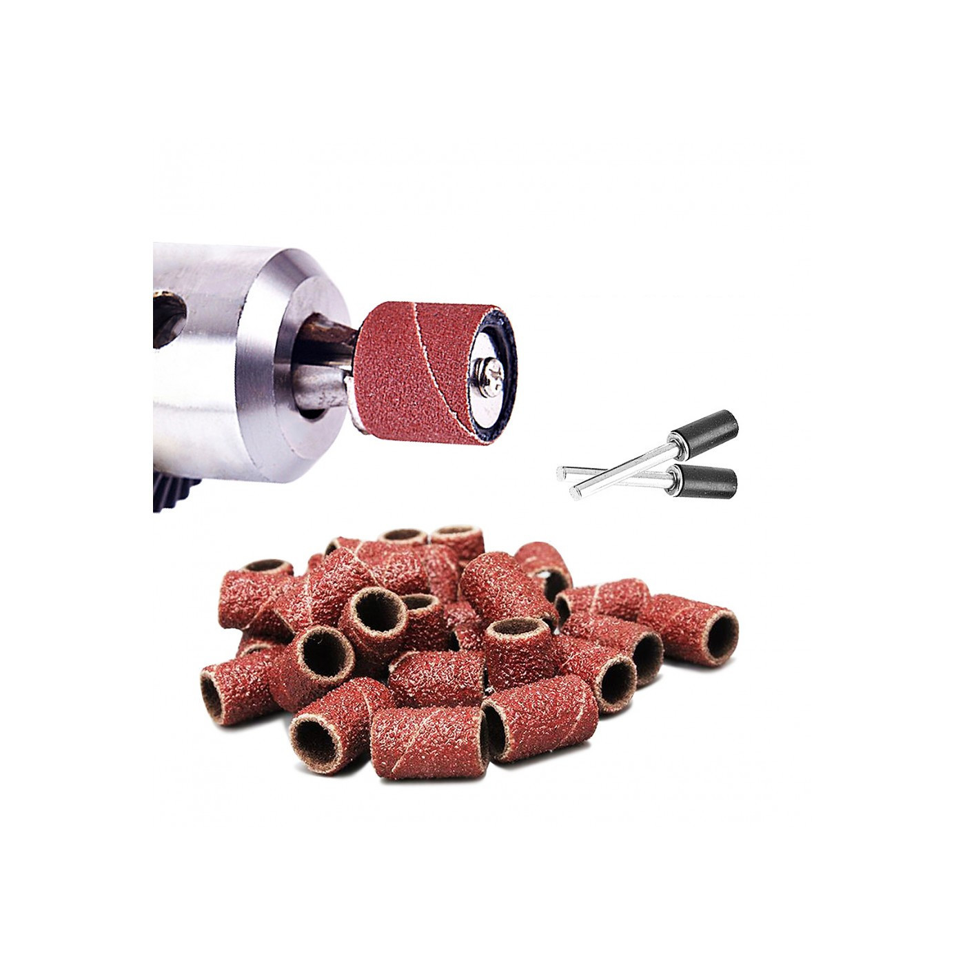 Conjunto de 60 bandas de lixar 8 mm, grão 80-600 com 2 varetas  - 1