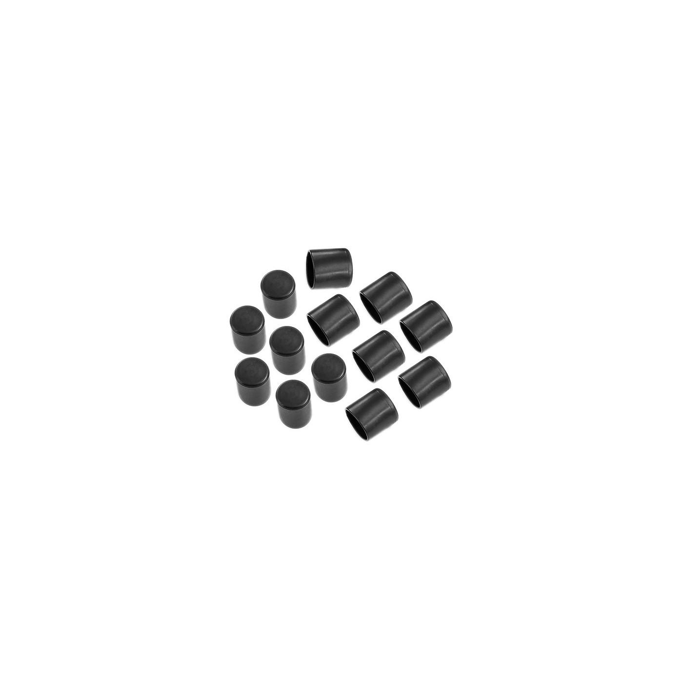 Zestaw 32 silikonowych nakładek na nogi krzesła (zewnętrzne, okrągłe, 22 mm, czarne) [O-RO-22-B]  - 1