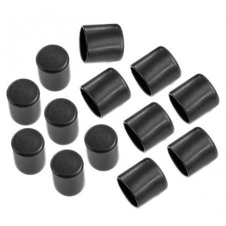 Set van 32 flexibele stoelpootdoppen (omdop, rond, 22 mm, zwart) [O-RO-22-B]  - 1