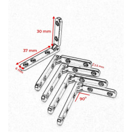 4 x metal hinge for box (silver, 90 degrees)