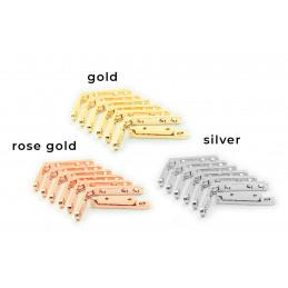 Zestaw 8 metalowych zawiasów do pudełka (srebrny, 90 stopni)