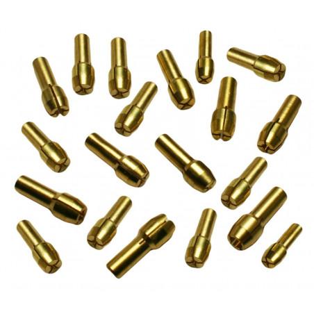 Complete set of 20 collet chucks (4.8 mm), for dremel like tools