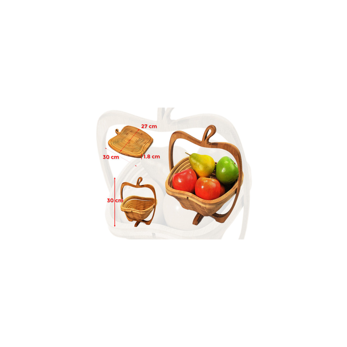 Deco wooden fruit basket (foldable)  - 1