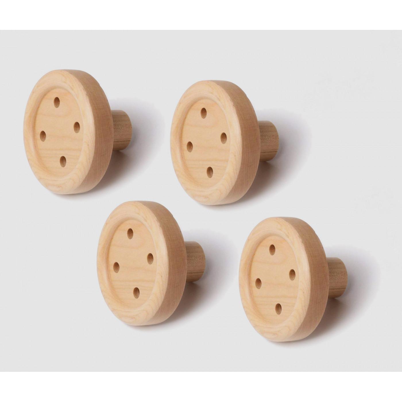 Conjunto de 4 ganchos de ropa de madera divertidos (botones)  - 1