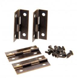Set van 16 scharniertjes, brons, 34x22 mm  - 1