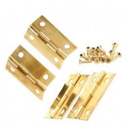 Set van 16 scharniertjes, goudkleurig, 34x22 mm  - 1