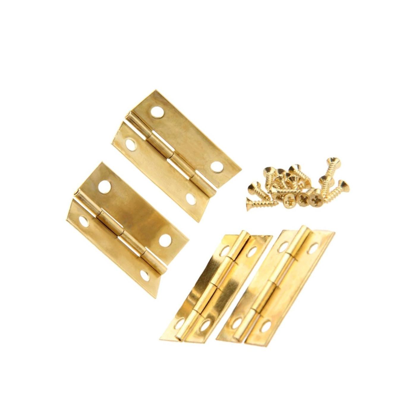 Ensemble de 16 charnières dorées (34x22 mm)