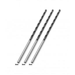 Set of 3 extra long wood drill bits (8x300 mm)