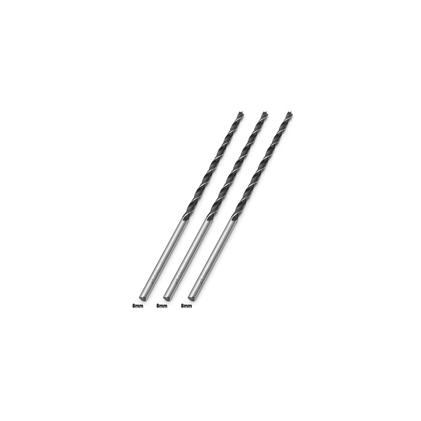 Jeu de 3 forets à bois extra longs (8x300 mm)