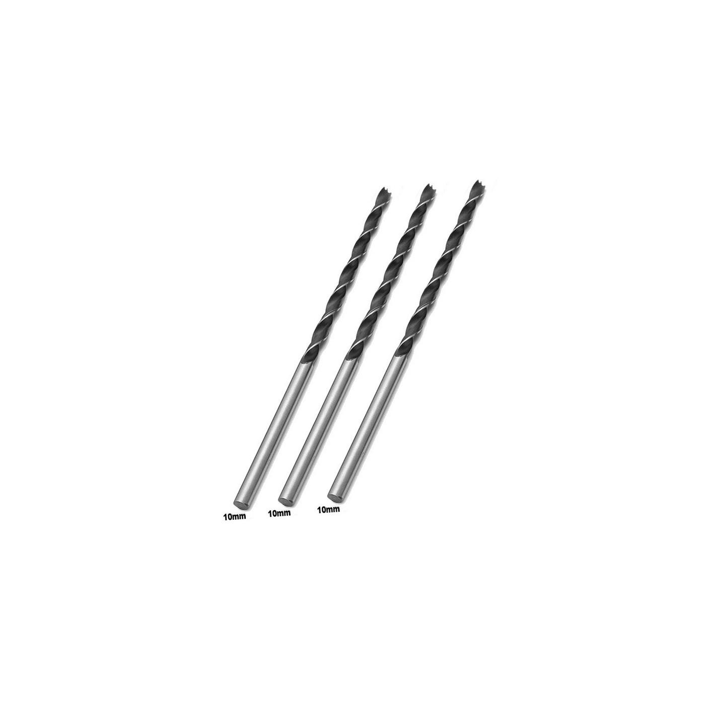 Juego de 3 brocas de madera extra largas (10x300 mm)  - 1