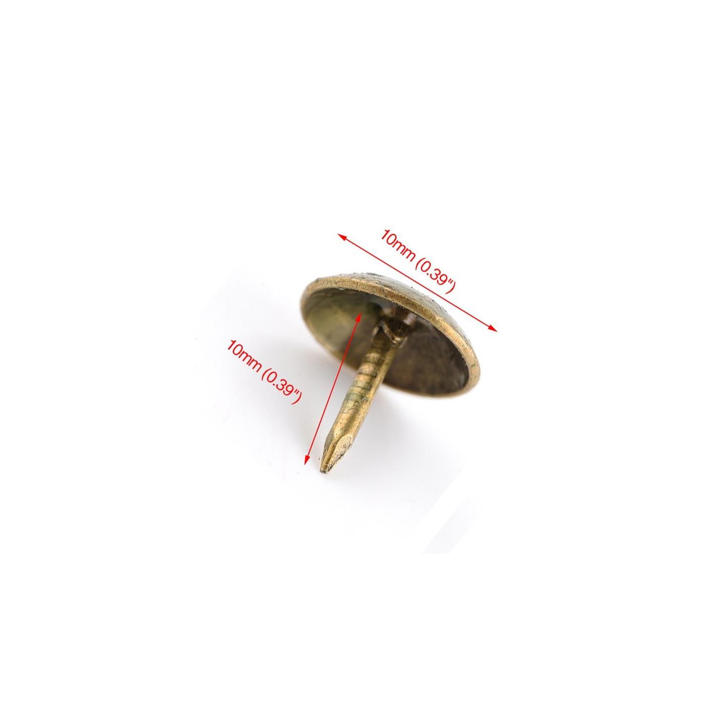 Conjunto de 300 alfinetes clássicos (pregos para móveis), bronze, 10x10 mm, tipo 2  - 1