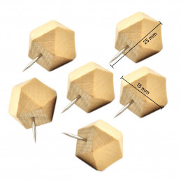 Set of 28 wooden polygon push pins in boxes