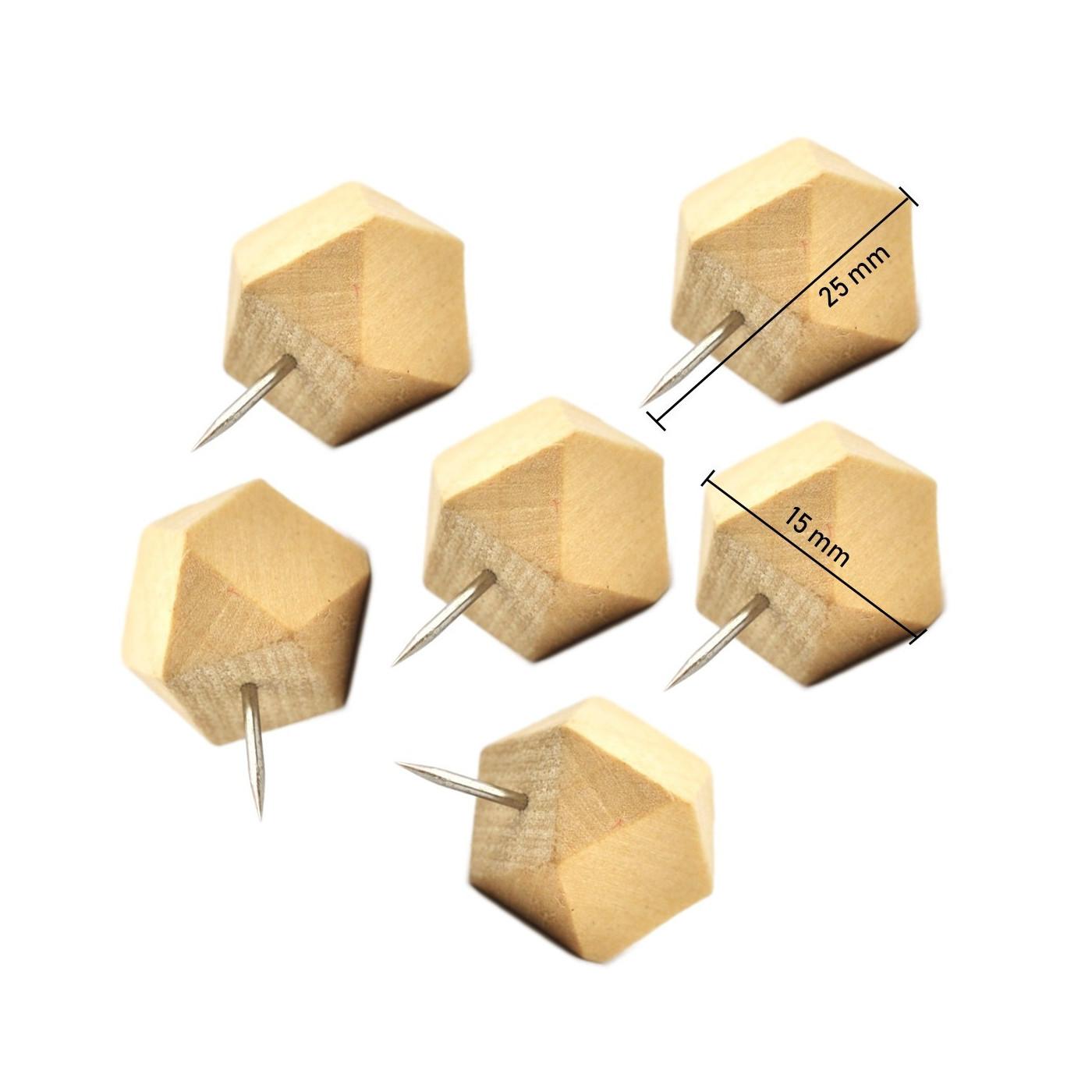 Set van 28 houten punaises, polygonen, in 2 doosjes  - 1