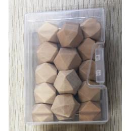 Ensemble de 28 punaises polygones en bois dans des boîtes