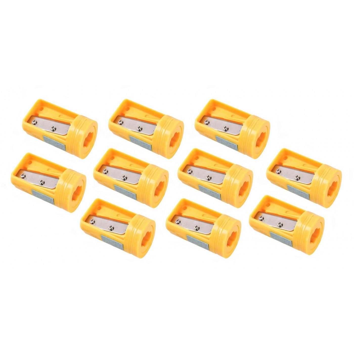 Set van 10 puntenslijpers voor timmermanspotlood, geel